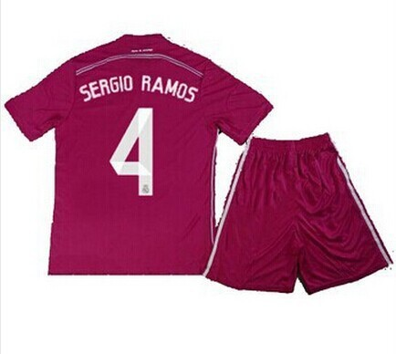 Тайские качества 2015 Реальный Мадрид дети розовый белый camiseta Реальный Мадрид 14 15 шорты рубашки тюков Серхио Рамос МСКЗ ozil Роналду