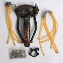 folding slingshot high quality catapult with 100pcs steel ball and 2 kinds rubber band for hunting animals china wholesale