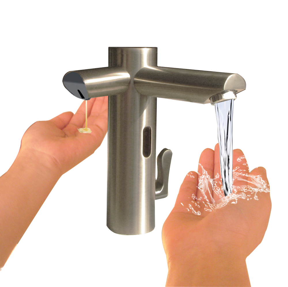 Auto Brushed Nickel Mixer Faucet With Liquid Soap Dispenser Buy Brushed Nickel Faucet Brushed