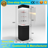 Wooden tempered glass tower display case and jewelry display tower for jewelry store showroom interior design shop fitting