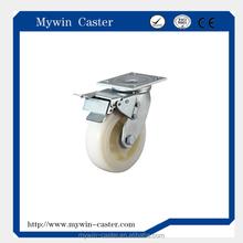 4 Inch Heavy Duty Plate Swivel Nylon Caster With Dual Brake