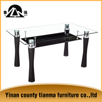 very nice quality modern room furniture cheap clear and black glass dining table designs