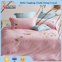 100% cotton printed famous brand bedding set manufacture embroidery bedding set