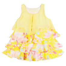 Baby Kids Dress Sleeveless Tulle Chiffon Floral Print Layer Children Frock for Little Girls