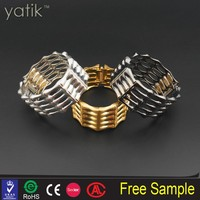 Womens Fashion Elegant Bangle Gold Tone Cuff Heart Bracelet Bling Hand Chain