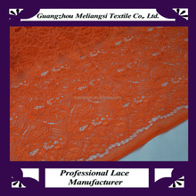 Fancy african guipure lace fabric cord, dress making lace fabric orange