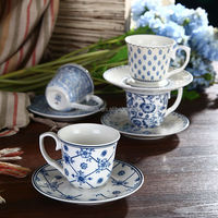 100CC Elegant Blue and White Porcelain Cup and Saucer