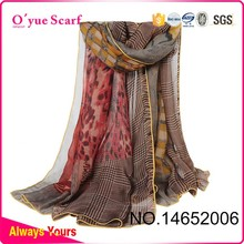 Gray and Rose red Nursing Scarf Chiffon