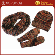 2015 multicolor knitted scarf hat and glove set