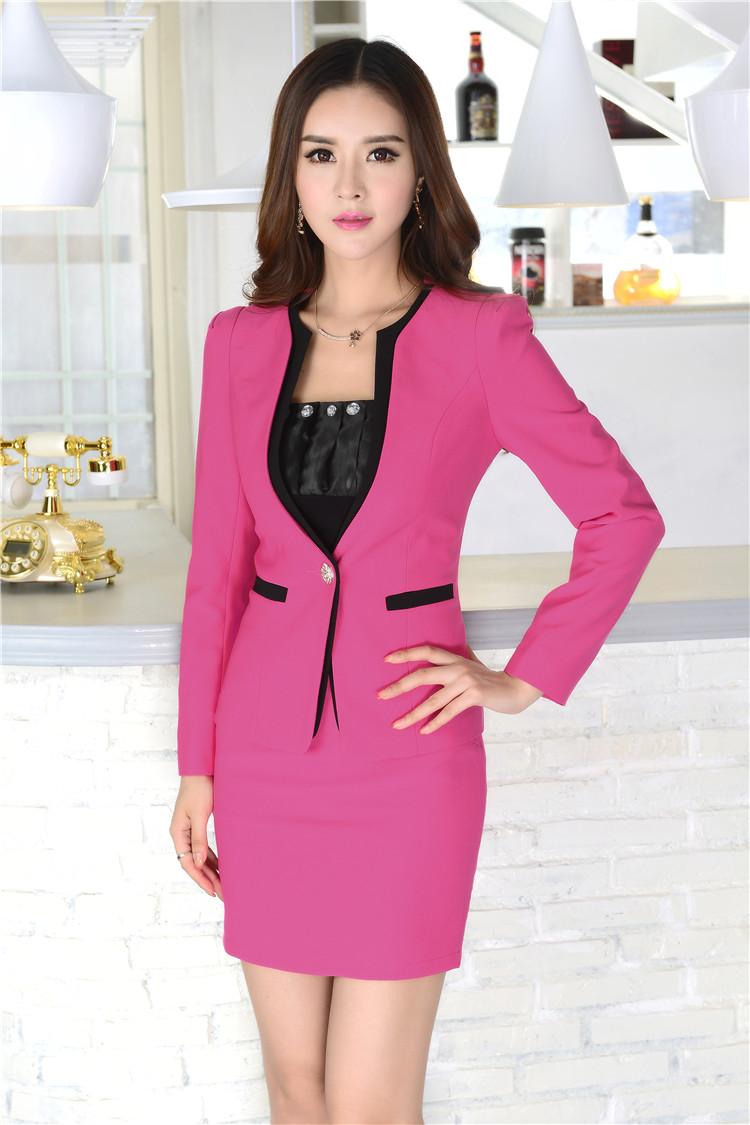 Wholesale New 2015 Autumn Winter Formal Skirt Suits Women Work Wear