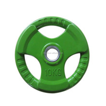 Three handles color rubber weight plate