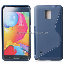 Mobile phone cover TPU mobile phone cases S-shaped silicone case for Galaxy note 4, accept paypal