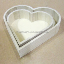 Practical Various Design Heart Shape Wooden Tray