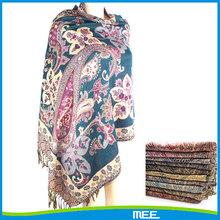 fringe jacquard pattern cashmere pashmina