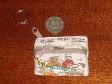 PERUVIAN INCA LEATHER COIN WALLET KEYCHAIN