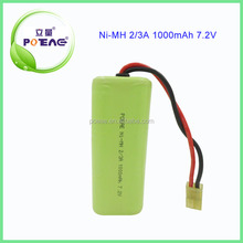 high quality 7.2v ni-mh rechargeable battery pack 1000mAh