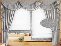 flame retardant blackout fabric curtain with window gauze