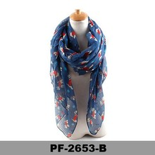 Yiwu factory wholesale fashion style 100% voile lovely puppy dog printed scarf