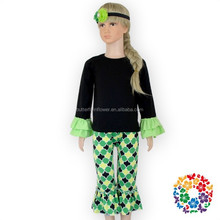 Black Mint Ruffles Long Sleeve Pants 2015 Autumn Persnickety Kids Trendy Clothing, Wholesale Children's Boutique Clothing