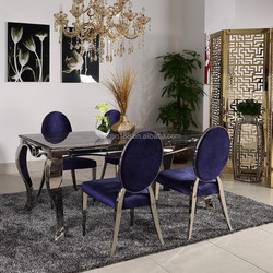 dining table stainless steel frame marble top dining room furniture sets