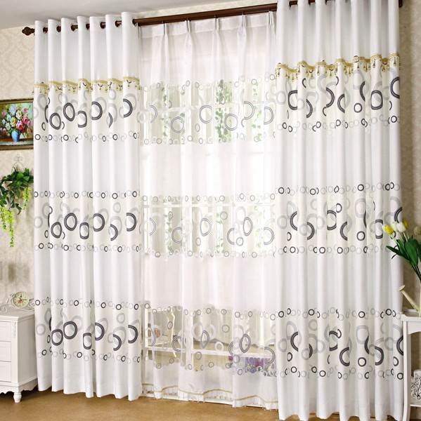 The latest living room curtain plain white simple printed - Latest curtain design for living room ...