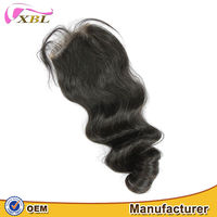 XBL best grade virgin hair Nautral color Brazilian hair lace closure free part three way part