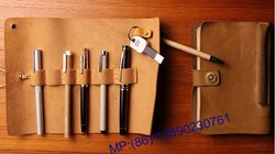 custom pen pouch/genuine leather pen case/pencil bag