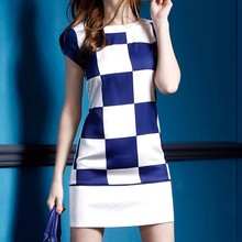 2015 New Elegant High Quality Short Sleeve Casual Women Dress Blue White Patched Printed Plaid Dress