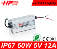 High efficieny Guangzhou waterproof led power supply constant voltage single output 60 watt 12 ampere 5v gateway power supply