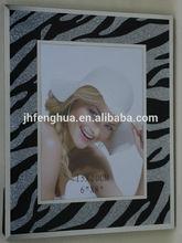 moldura de vidro com preto e branco listra glitter pó frame foto