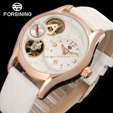 fashion watches ladies stainless steel back, double movement automatic quartz watch