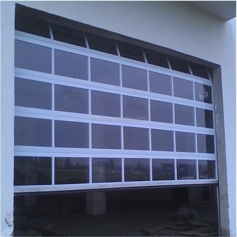 Security automatic aluminum glass sectional door for for Sectional glass garage door