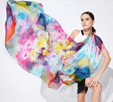 Silk Chiffon OEM Digital Print Women Long Shawl