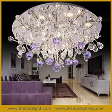 Fancy led ceiling light & k9 purple apple crystal pendant chandelier with remote control