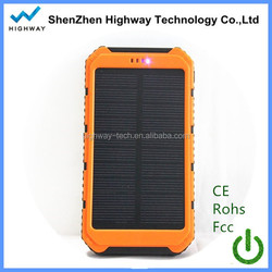 2015 new real full 10000mah solar power bank charger,power bank solar panel with led light