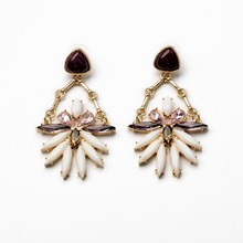 Fashion New Hot Designs Crew Brand Name Gold Earrings Fringe Elegant Forest Gem Bib Stud Statement Dangle Earring E1635