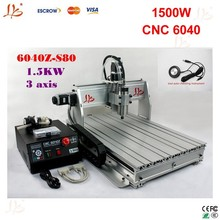 Russia free Ship & Tax! lathe to metal cnc router 6040 z-s80 3axis 1.5KW spindle water cooled,power tools cutting stone metal