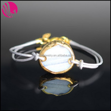 Fashion Beautiful Gold Plated Alloy Wrapped Natural Round Stone Leather Rope Bracelets