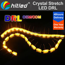 58CM High Bright Flexible white + yellow Dual Color DC 12V LED DRL for Universal Automobile