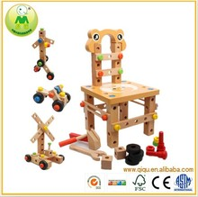 015 New DIY wooden tools chair toy for kids,wooden construction toy workbench for children,wooden toy tools chair for baby