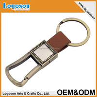Logoson custom animal PU leather logo keychain leather key holders