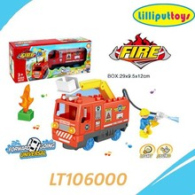 Plastic building block fire engine toy with light and music