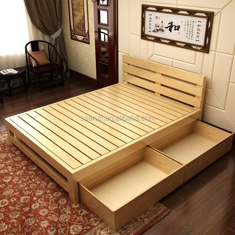 Solid wooden double bed with box teak wood modern bed for Bed design photos