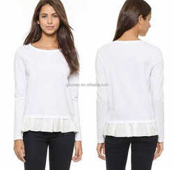 2015 Singapore women wear tee t-shirt long slim fit t-shirt blank white black and white color with lace trim details
