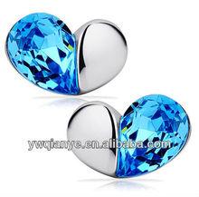factory hot sale half diamond heart earring