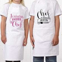 100 cotton white kids aprons for cooking with ruffle