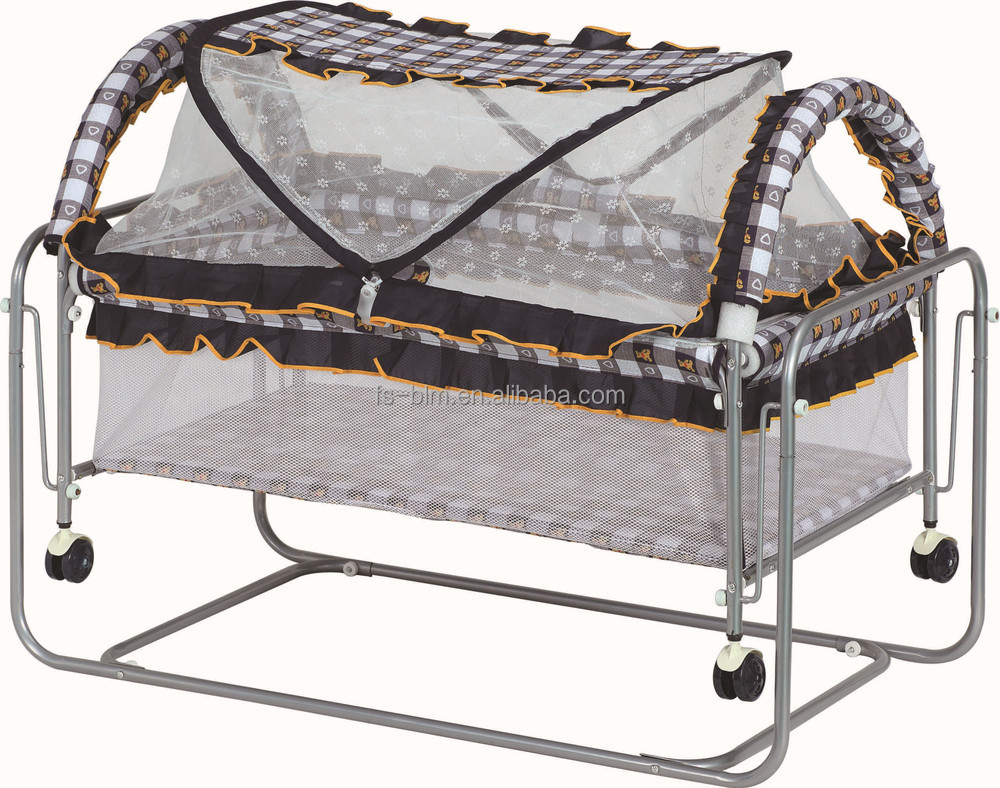 Hot sale simple iron frame baby bed baby crib swing bed for Swinging bed frame