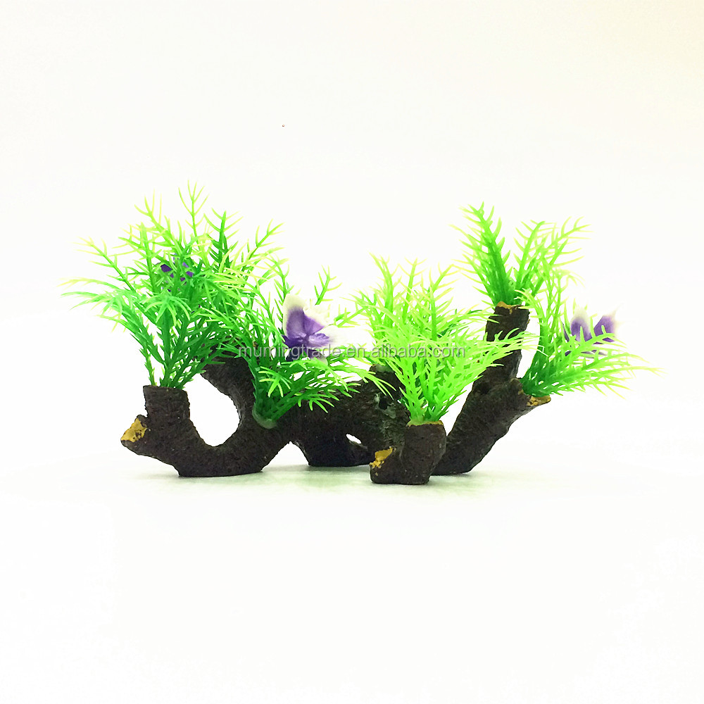 aquarium resin tree root decoration green plants