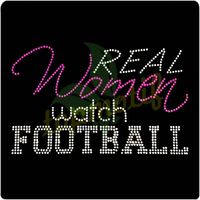 Real Woman Watch Football Iron On Applique Bling Crystal