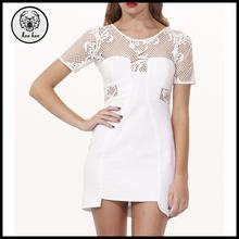 pizzo anteriore corto manica di lino bianco netto mini abito online